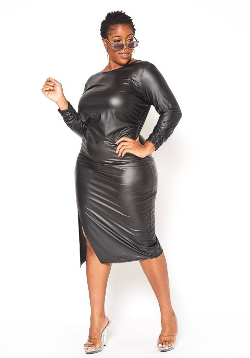 Asoph Plus Size PU Leather Open Back Midi Dress