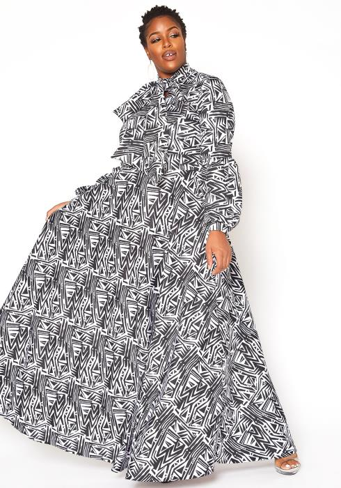 Asoph Plus Size Orderly Print Fit & Flare Dress