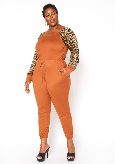 Asoph Plus Size Leopard Contrast Two Piece Set