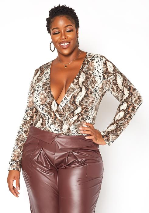 Asoph Plus Size Snakeskin Print Long Sleeve Bodysuit