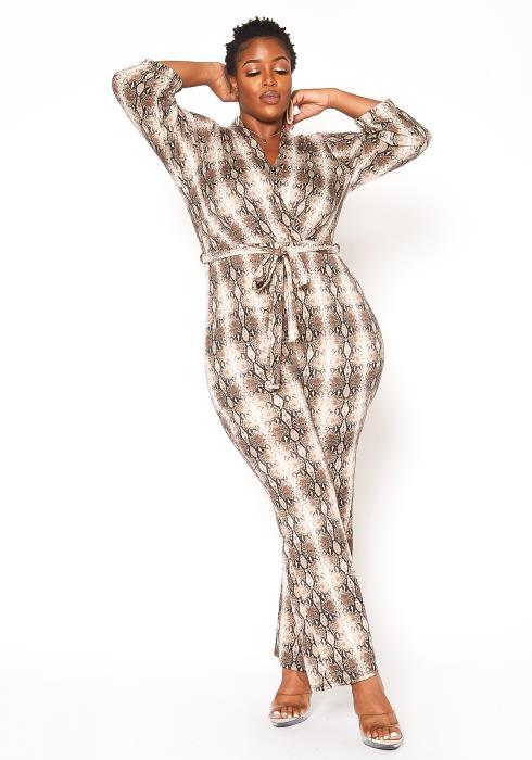 Asoph Plus Size Snakeskin Print Flare Jumpsuit