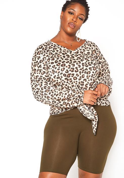 Asoph Plus Size Leopard Print Tassel Knot Sweater