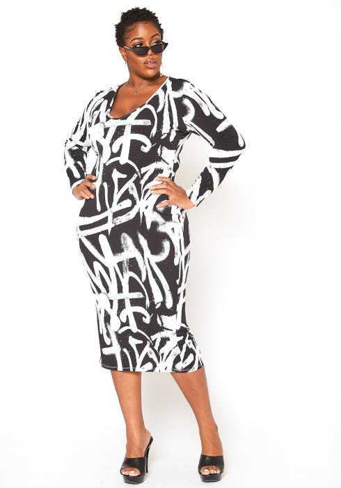 Asoph Plus Size Graffiti Print Bodycon Midi Dress