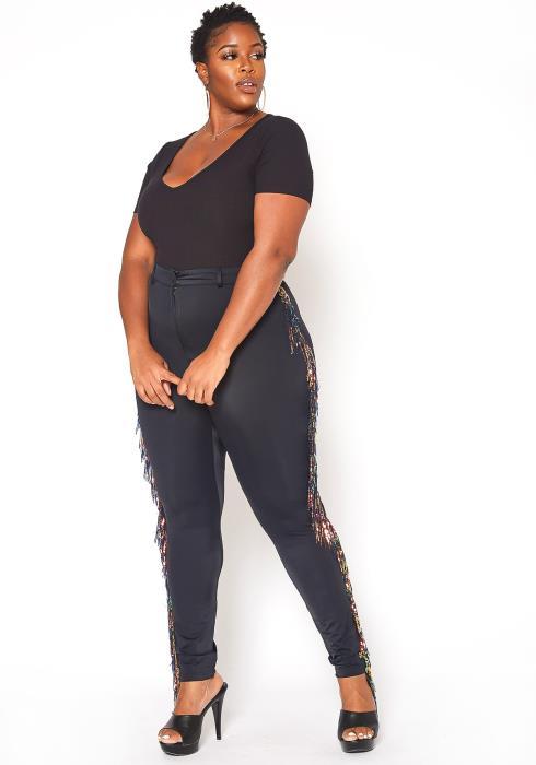 Asoph Plus Size Sequin Fringe Trim Pants