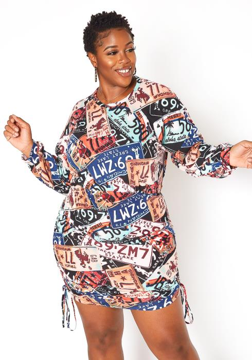 Asoph Plus Size License Plate Print Ruched Mini Dress