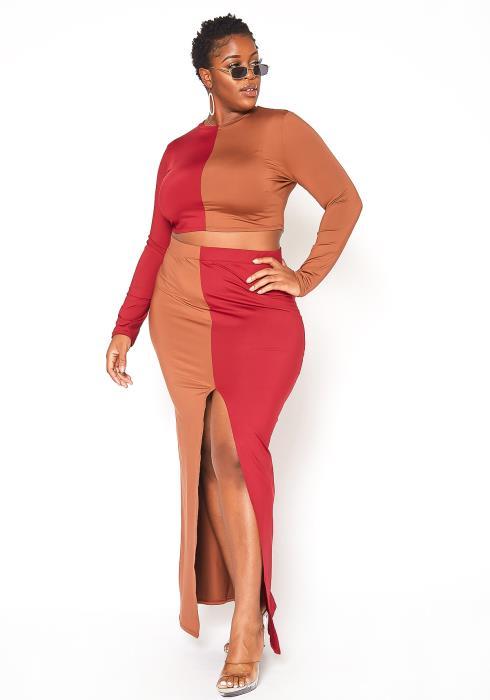 Asoph Plus Size Color Block Crop Top & Maxi Skirt Set