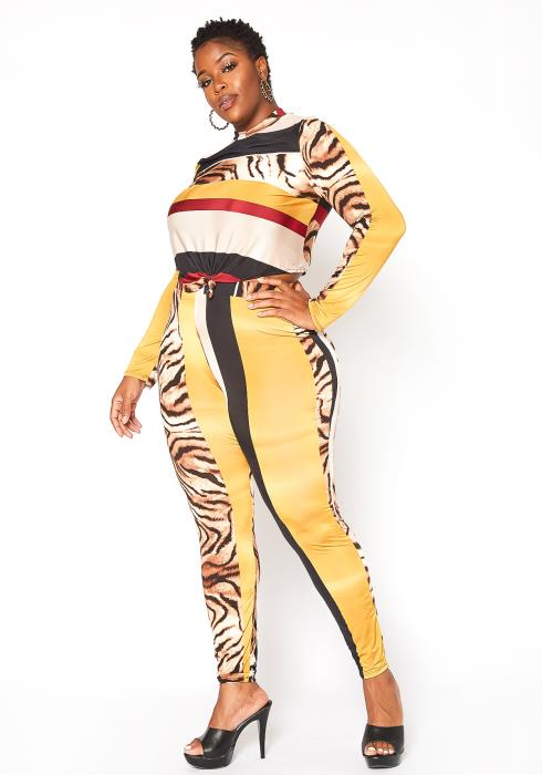 Asoph Plus Size Animal Print Contrast Set