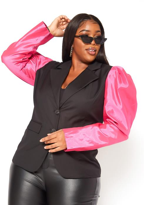 Asoph Plus Size Hot Pink Contrast Puff Shoulder Blazer