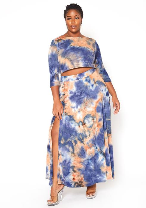 Asoph Plus Size Tie Dye Crop Top & Maxi Skirt Set