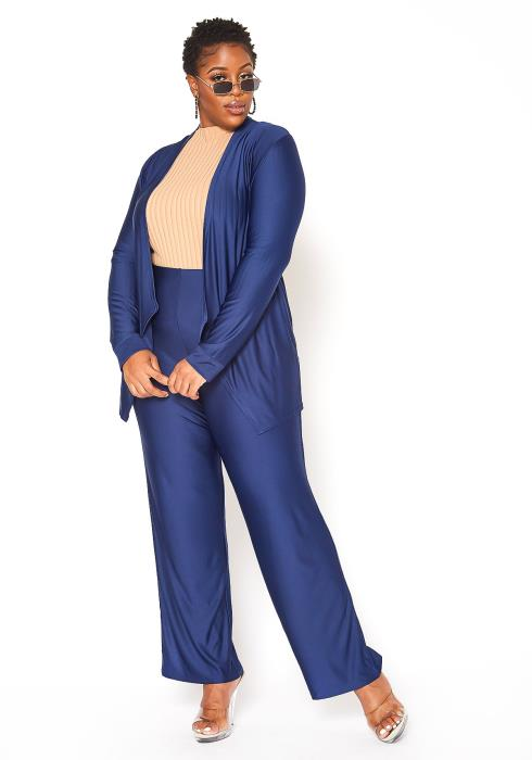 Asoph Plus Size Open Front Cardigan & Straight Pants Set