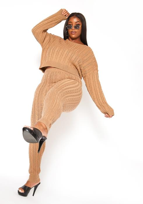 Asoph Plus Size Cable Knit Sweater & Leggings Set