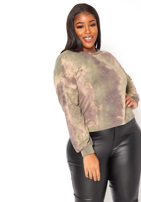 Asoph Plus Size Washed Out Tie Dye Sweater