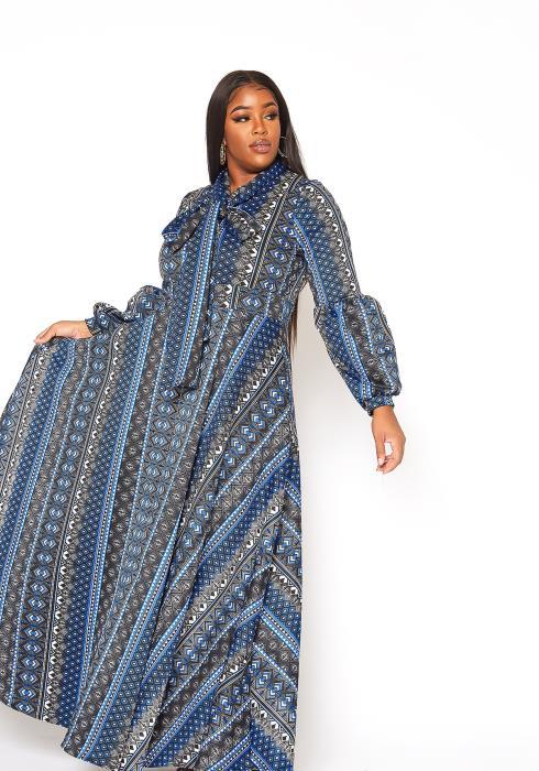 Asoph Plus Size Everlasting Print Fit & Flare Maxi Dress