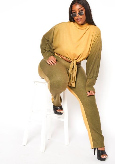 Asoph Plus Size Gradient Mock Neck Sweater & Pants Set