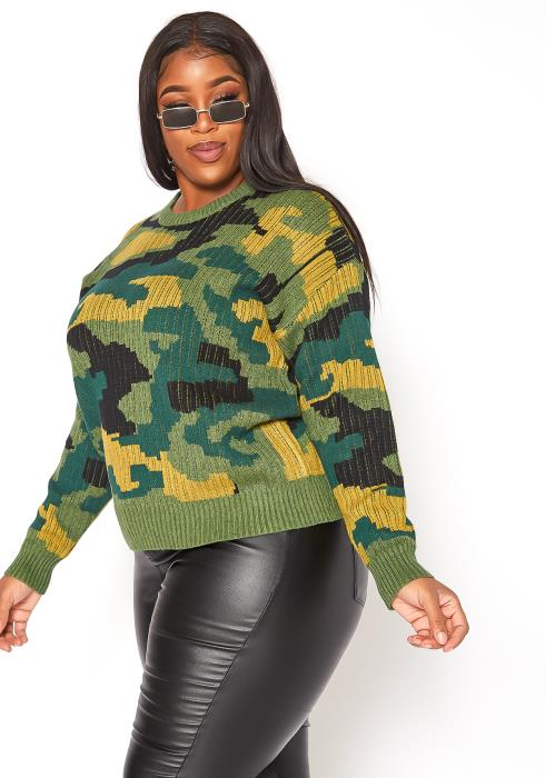 Asoph Plus Size Retro Camo Print Ribbed Knit Sweater