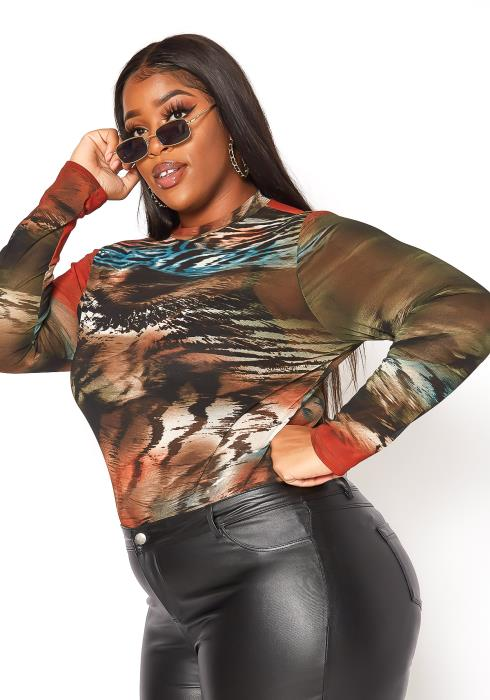 Asoph Plus Size Wild Behavior Mesh Print Bodysuit