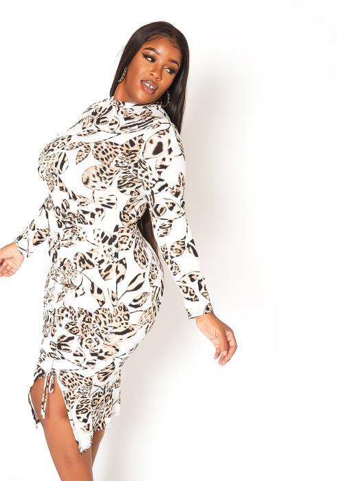 Asoph Plus Size Wild Flower Print Long Sleeve Midi Dress