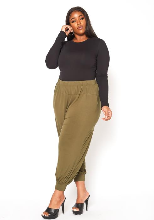Asoph Plus Size Relaxed Fit Mid Rise Pants