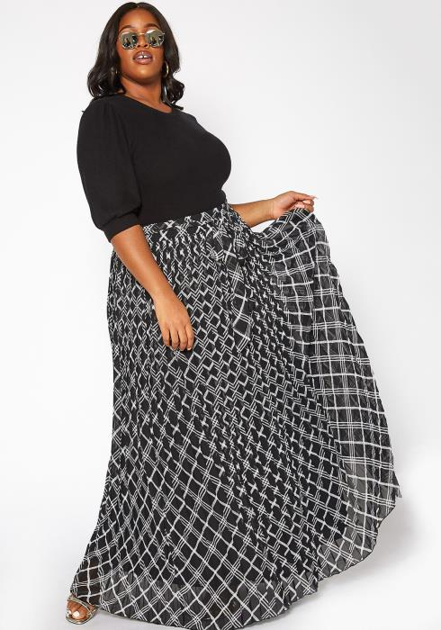 Asoph Plus Size Plaid Print High Rise Flare Maxi Skirt