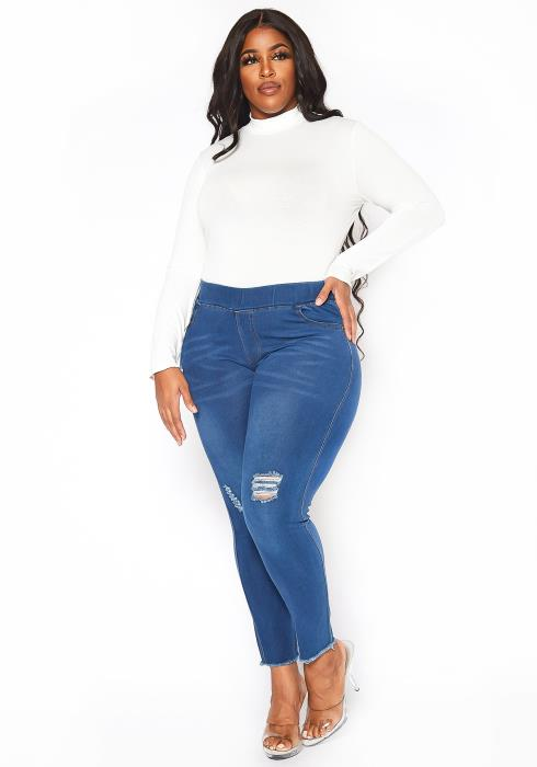 Asoph Plus Size Simple Distressed Blue Wash Jeggings