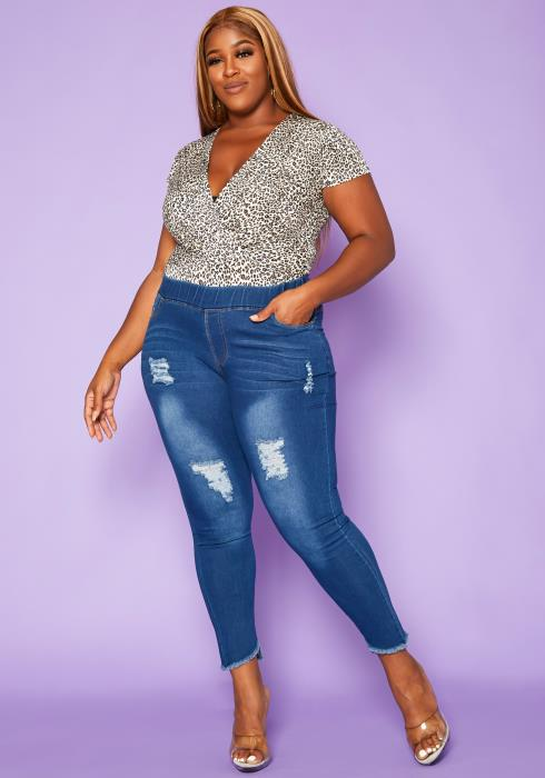 Asoph Plus Size Front Distressed Blue Wash Jeggings