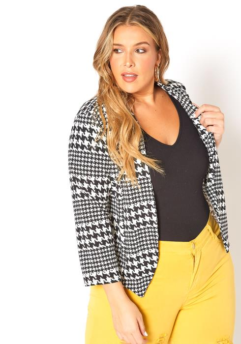 Asoph Plus Size Houndstooth Open Front Blazer