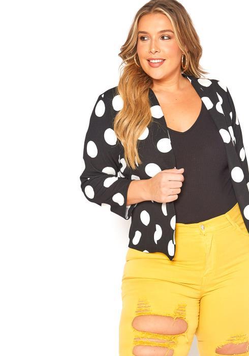 Asoph Plus Size Polka Dot Print Open Front Blazer