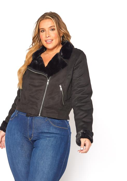 Asoph Plus Size Chic Faux Fur Lined Suede Moto Jacket