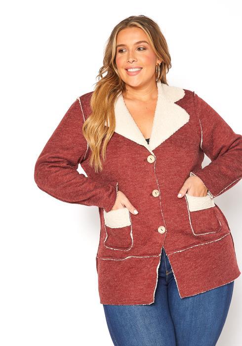 Asoph Plus Size Sherpa Blend Notch Collar Coat