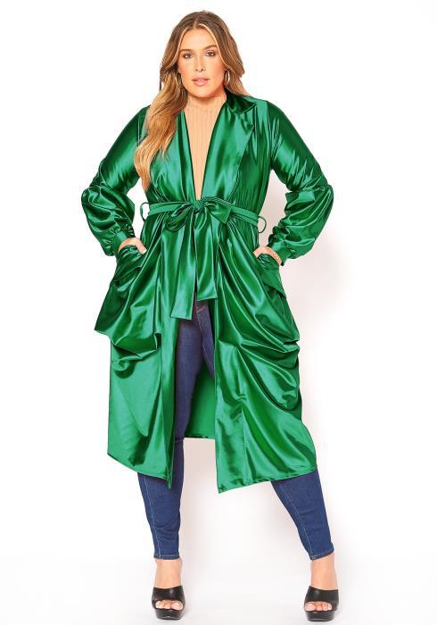 Asoph Plus Size Lavish Notch Collar Satin Longline Cardigan
