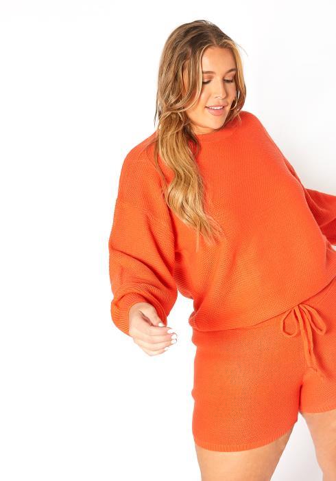 Asoph Plus Size Waffle Knit Oversize Sweater & Shorts Set