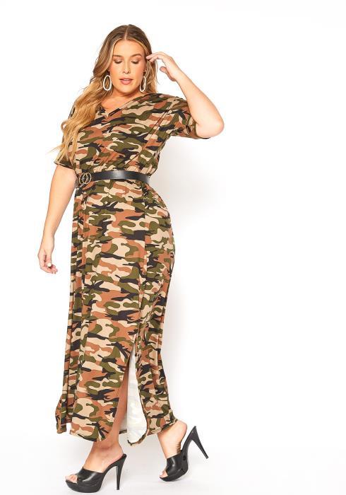 Asoph Plus Size Camo Slit Hem Maxi Dress