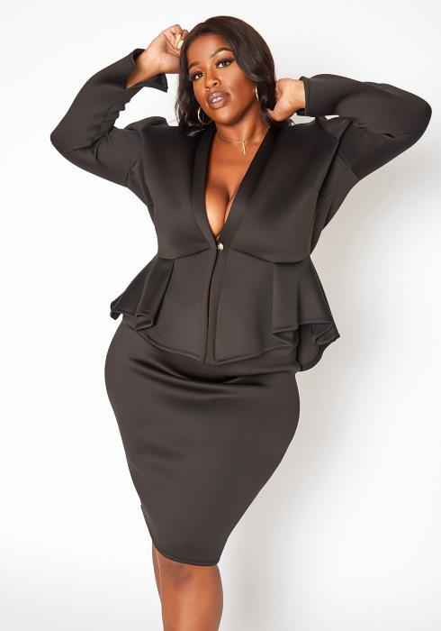 Asoph Plus Size Boss Goals Peplum Top & Pencil Skirt Set