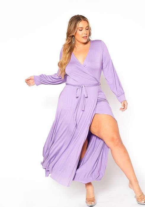 Asoph Plus Size Long Sleeve Wrap Lavender Maxi Dress