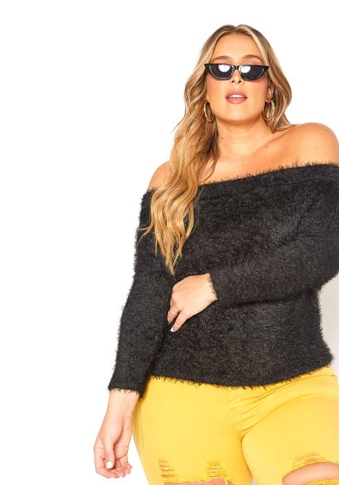 Asoph Plus Size Off Shoulder Furry Sweater