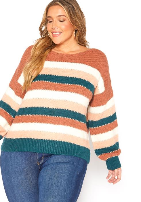 Asoph Plus Size Fuzzy Multi Stripe Sweater