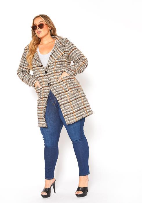 Asoph Plus Size Tweed Button Front Coat