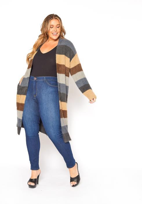 Asoph Plus Size Furry Longline Open Front Cardigan
