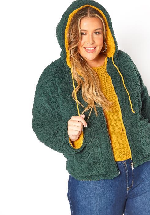 Asoph Plus Size Double Sided Sherpa Coat