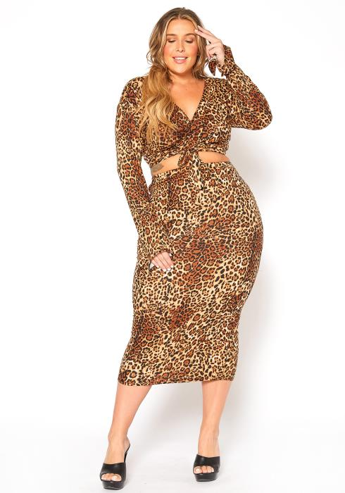 Asoph Plus Size Leopard Print Wrap Crop Top & Midi Skirt Set