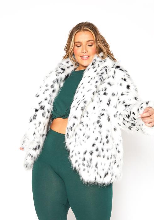 Asoph Plus Size Coldest Winter Faux Fur Dotted Coat