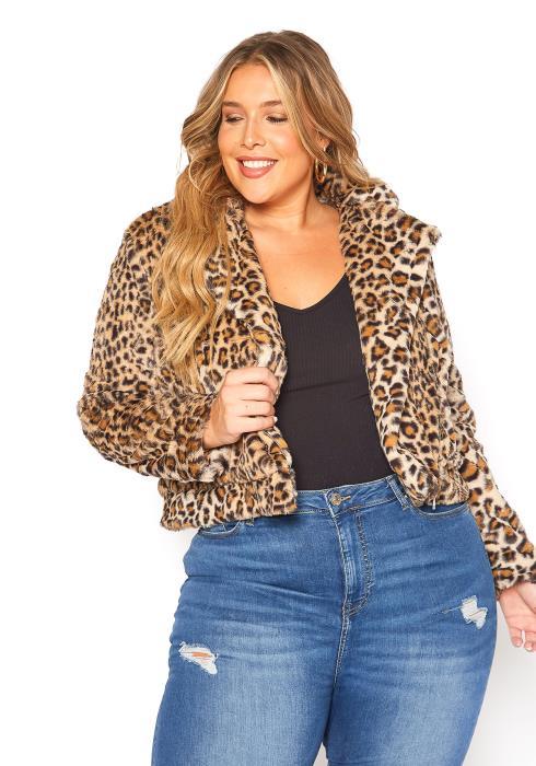 Asoph Plus Size Furry Soft Leopard Coat