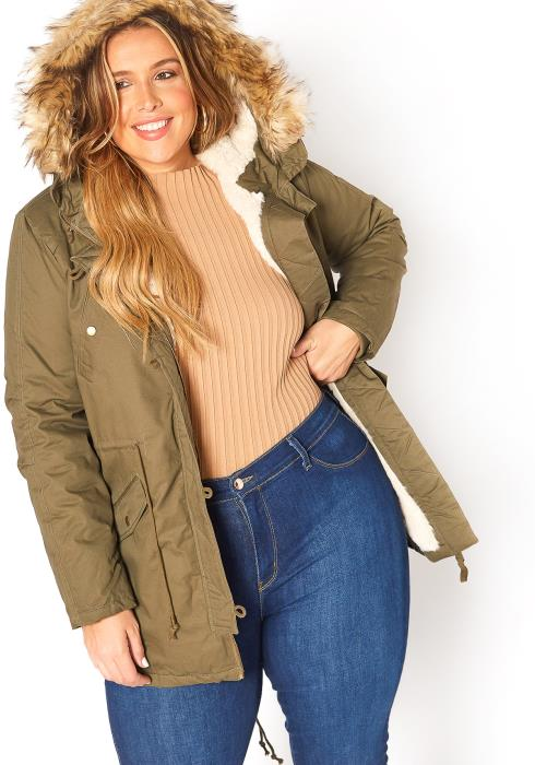 Asoph Plus Size Let It Snow Military Olive Faux Fur Hooded Coat