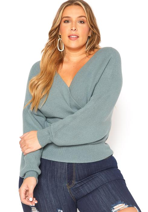 Asoph Plus Size Ribbed Knit Surplice Sweater Top