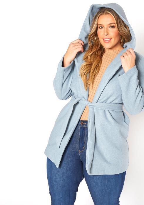 Asoph Plus Size Wool Knit Hooded Coat