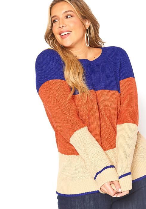 Asoph Plus Size Bold Color Stripe Sweater