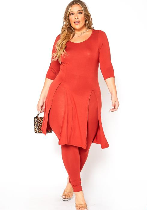 Asoph Plus Size Long Slit Hem Top & Leggings Set