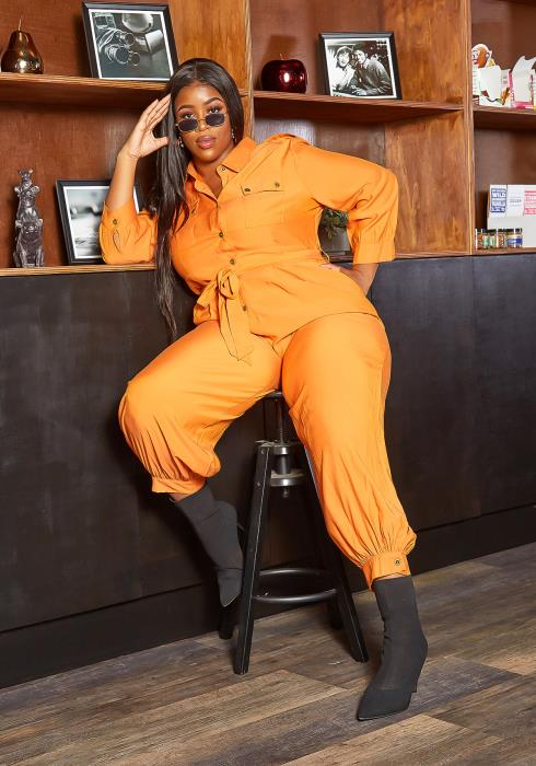 Asoph Plus Size New Season Orange Collar Jumpsuit