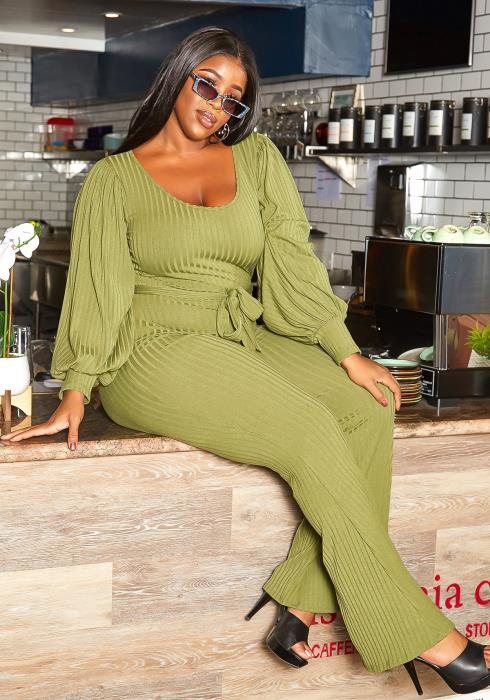 Asoph Plus Size Fall Favorite Ribbed Knit Flare Leg Jumpsuit