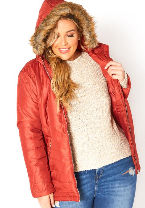 Asoph Plus Size Faux Fur Lined Hooded Puffer Jacket